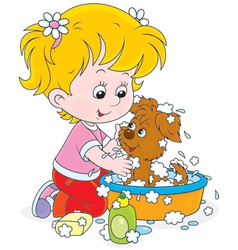 Girl washing a puppy vector