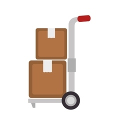 hand truck box delivery vector image