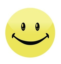 Happy smiley face button badge vector