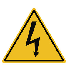 High voltage triangular warning sign on white vector