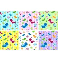 Kids seamless pattern with birds birdies endless vector