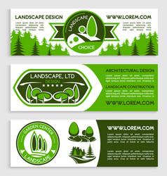 Landscape design company banners set vector