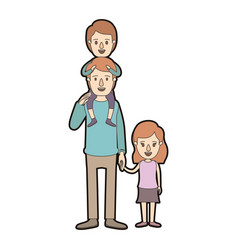 Light color caricature thick contour dad with boy vector