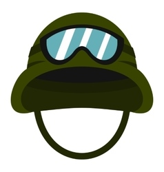 Military metal helmet icon flat style vector