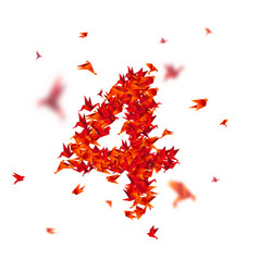 Number 4 numbers with origami paper bird on vector