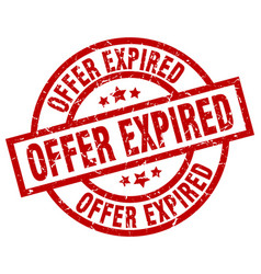 Offer expired round red grunge stamp vector