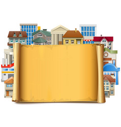 Old scroll with buildings vector