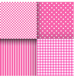 Set of cute simple pink and white patterns vector