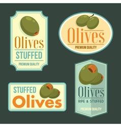 Set of ripe Olives badges vector image