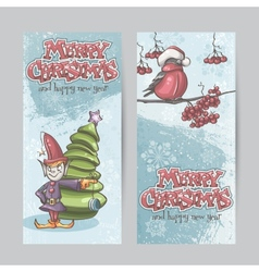 Set of vertical banners for christmas and the new vector
