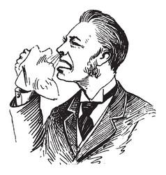 Sick man sneezing vintage engraving vector