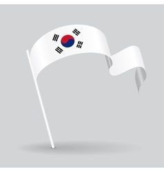 South Korean wavy flag vector image vector image