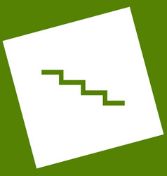 Stair down sign white icon obtained as a vector