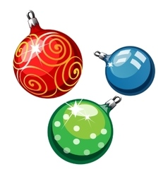 Three balls on Christmas tree red blue and green vector image vector image