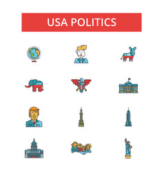 usa politics thin line icons linear vector image