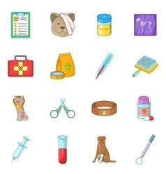 Veterinary clinic icons set cartoon style vector