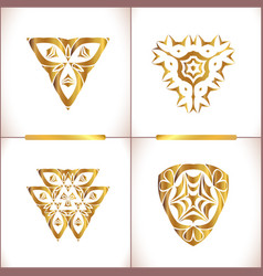 Vintage gold round pattern set vector