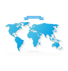 world map with long shadow vector image