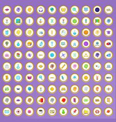100 creative idea icons set in cartoon style vector