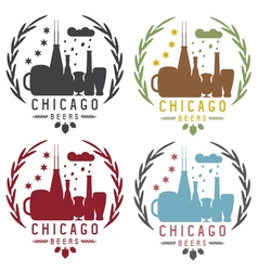 Chicago beer festival vintage emblems set vector