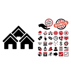 Town buildings flat icon with bonus vector
