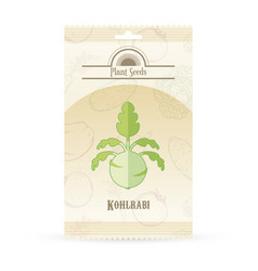 Pack of kohlrabi seeds icon vector