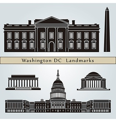 Washington DC landmarks and monuments vector image