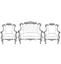 Classic imperial baroque armchair set with vector