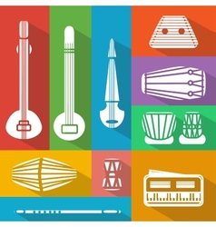 Flat indian instruments vector