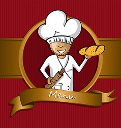 Baker chef cartoon badge menu design vector image