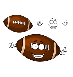 Cartoon brown rugby ball mascot character vector