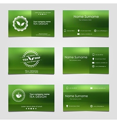 Set of business cards for tea vector