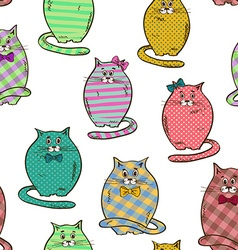 Seamless pattern of funny fat cats vector