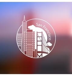 Minimalist round icon of san francisco usa flat vector