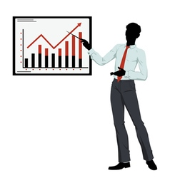 Silhouette businessman showing presentation vector