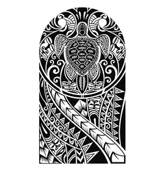Traditional maori tattoo design with turtle vector