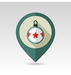 Christmas balls flat pin map icon vector
