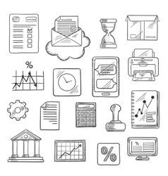 Business financial and office sketched icons vector