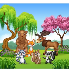 Happy animal collection in the jungle vector
