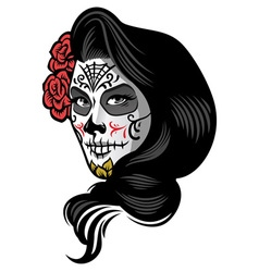 Girl wearing day of the dead make up style vector