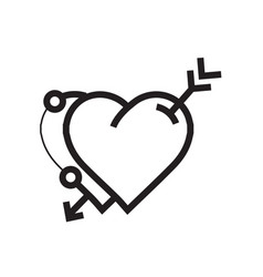Arrow on twins heart icon vector