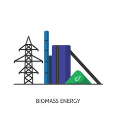 Biomass power station icon in flat style vector