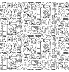 black friday household doodle seamless pattern vector image