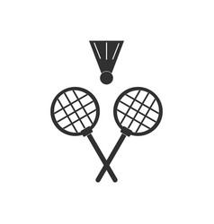Black icon on white background kids badminton vector