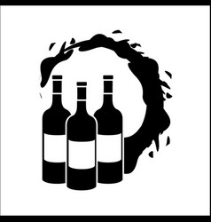 Bottles with bubble of wine icon vector