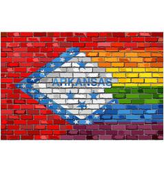 brick wall arkansas and gay flags vector image