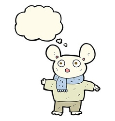 Cartoon mouse in clothes with thought bubble vector