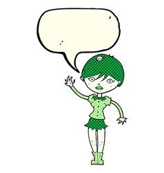 Cartoon vampire girl waving with speech bubble vector