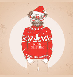 Christmas hipster fashion animal pug dog vector