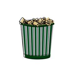Cinema cardboard striped popcorn snack bucket vector
